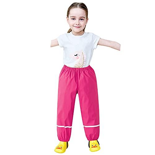 Vexiangni Conjunto de traje de lluvia con forro polar, traje de barro, impermeable y cortavientos para niños, transpirable, pantalones de lluvia para niñas, niños, unisex y niños, caliente, rosa, XXL