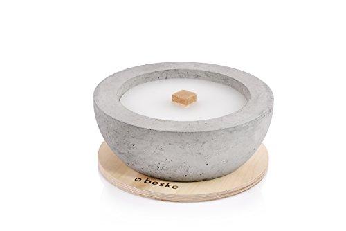 beske-manufaktur betonvuur met 'permanente lont' | Ø 24 cm smalle rand | kaars | tuinfakkel | 100% handgemaakt Made in Germany