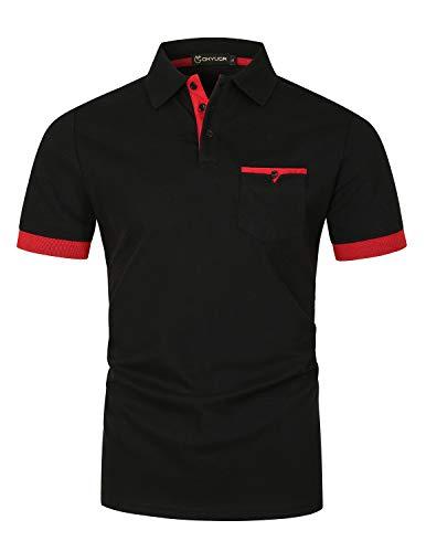 GHYUGR Hombre Polos Manga Corta con Bolsillo Real Elegante Colores de Contraste Camisa Golf Verano Tops Trabajo Camisetas,Negro,L