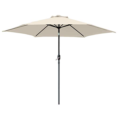 Greenbay 2.5M Round Aluminium Garden Parasol Sun Shade Patio Outdoor Umbrella Canopy Crank Tilt Mechanism Cream