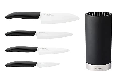 Kyocera KB-RD BK 4KN FK EU Set de couteaux en céramique avec couteau universel, couteau Santoku et bloc rond pour 8 couteaux, lame en céramique de zircone, aiguisée à la main, KB-RD BK 4KN FK EU