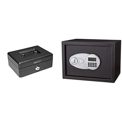 Rapesco money - Caja fuerte portátil de 15 cm de ancho con portamonedas interior & Amazon Basics - Caja fuerte (14L), color negro