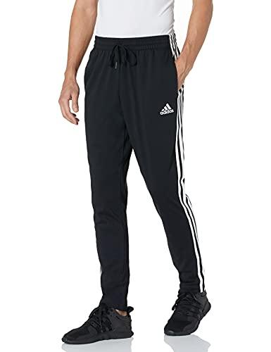 adidas Men's Standard Essentials Single Jersey Tapered Open Hem 3-Stripes Pants, Black/White, X-Large