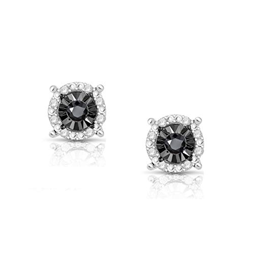 NATALIA DRAKE 1/4 Cttw Round Halo Black Diamond Stud Earrings for Women in Rhodium Plated Sterling Silver (Color I-J/Clarity I2-I3)