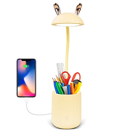 Stepless Dimmable Desk Lamp with 3 Color Modes, Eye-Caring Small Desk Lamp with USB Charging Port and Pencil Holder, Battery Powered, Rechargeable, Flexible Gooseneck for Kids, Home, Office
