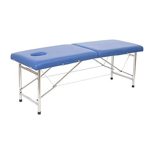 Kanqingqing Draagbare massagetafel, massagetafel, salontafel, roestvrij staal, lichte professionele beauty tattoo Spa Reiki draagbare klep, 2-delig, met schuim en draagtas, draagvermogen 590 kg