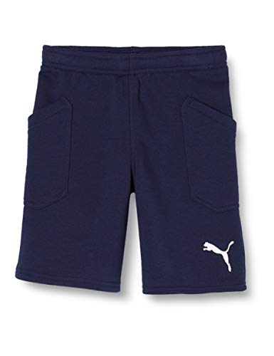 PUMA Kinder Liga Casuals Shorts Jr Hose, Peacoat-Puma White, 140