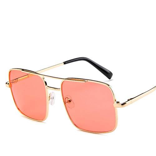 UKKO Gafas de sol Fashion Square Pendiente De Gafas De Sol De Las Gafas De Sol Del Marco Del Metal De Las Mujeres Para Las Mujeres Maxi Marco Lene Lentes Sombras Uv400,Rojo