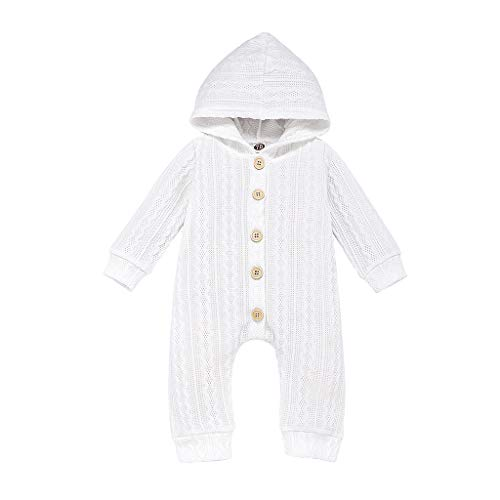SINGOing Strick-Overall mit Kapuze Baby Mädchen Jungen Warm Strampler Winter Jumpsuit 0-24 Monat Kleidung Set Baby Unisex Strickpullover Outfits