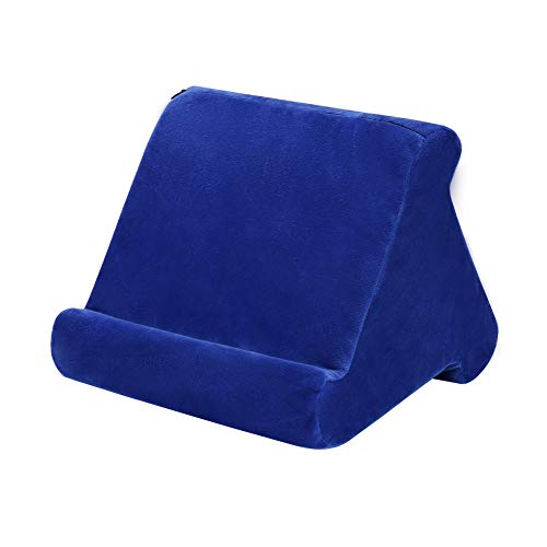 Soporte de almohada para tableta, soporte de lectura, cojín para el hogar, cama, sofá, almohada suave multiángulo, soporte de tableta, soporte de almohada para sofá, lectores electrónicos (azul)