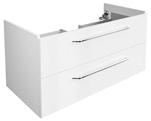 FACKELMANN Waschtischunterschrank Milano/Badschrank mit Soft-Close-System/Maße (B x H x T): ca. 100 x 49,5 x 48 cm/Waschbeckenunterschrank mit 2 Schubladen/Korpus: Weiß/Front: Weiß