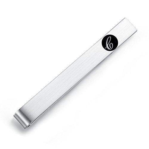 HONEY BEAR 5.4cm Herren Briefe Initialen Krawattennadel Krawattenklammer für Normale Krawatte Edelstahl Tie Clip,Silber mit Schwarzem Buchstaben (C)