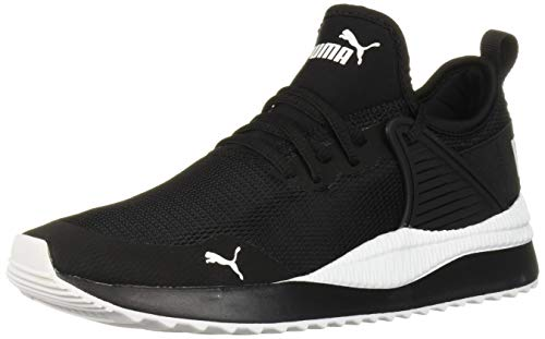 PUMA Women's Pacer Next Cage Sneaker, Black White, 7.5 M US
