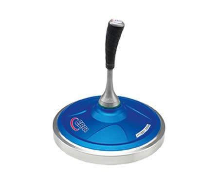 EBRA Hobby Eisstock Set 3,2 kg (blau), Kompaktstiel, Winterlaufplatte schwarz (schnell)