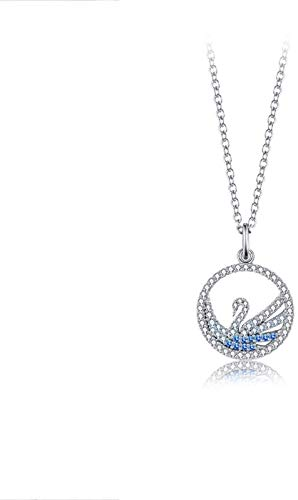 Pendant Necklaces Gradient Color Swan Necklace Sterling Silver Zirconia Pendant Necklaces,Blue