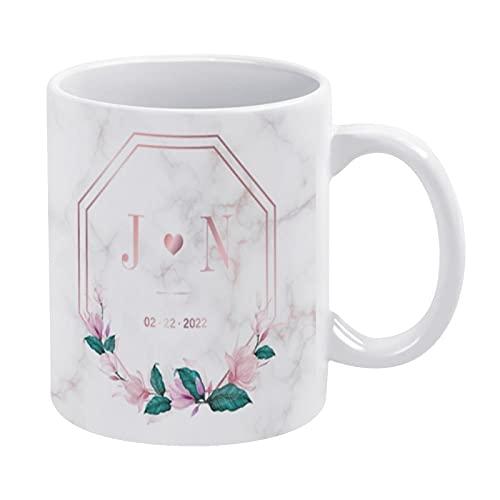 Taza de café blanca de 325 ml, diseño de monograma de boda, diseño de logotipo, taza de chocolate de cerámica para mujeres, jefe, amigo, empleado o cónyuge, regalos del día del padre