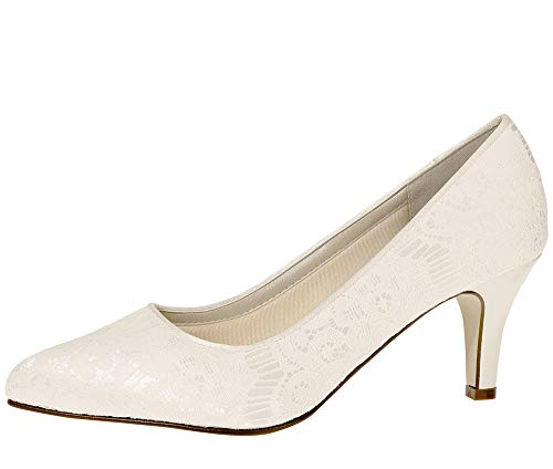 Rainbow Club Brautschuhe Pattie - Damen Pumps gepolstert, Ivory/Creme, Satin - Gr. 43 (UK 10)