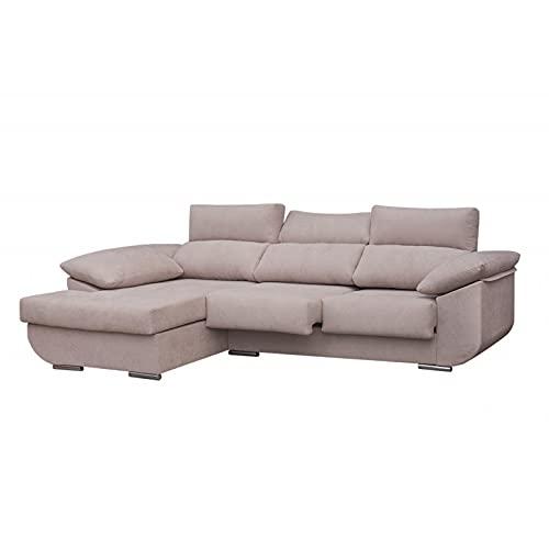SHIITO Sofá con Chaise Longue Izquierda de Tres plazas Modelo MASERATTI. Tela Color Crudo