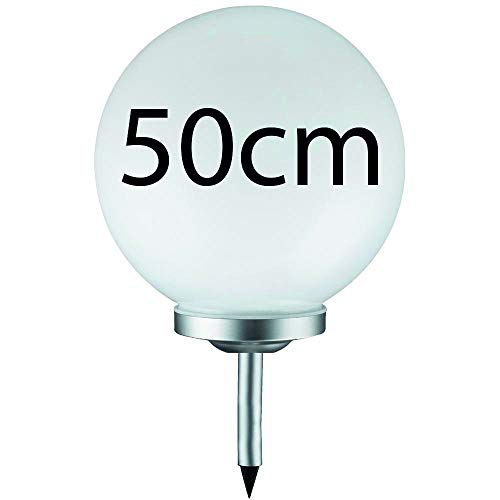 Grafner® Solarkugel Ø50 cm | LED | mit Erdspieß | Wegleuchte Gartenlampe Kugelleuchte LED-Leuchte Gartenleuchte Solar Kugel