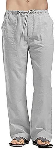 Noc Trading Pantalones de ocio para hombre, de algodón natural y lino, cintura elástica, rectos, pantalones de lino con bolsillos grandes, gris, XXXXL