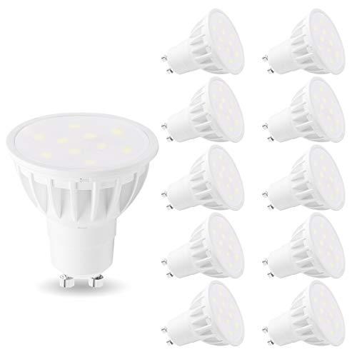 Woxeon MR16 GU10 LED Light Bulbs 50W Halogen Bulb Equivalent, Daylight White 6000K, 6W LED Spot Light Bulb 500Lm, 120°Beam Angle Light Bulbs for Track Lighting(GU10 Base) for Kitchens, Pack of 10