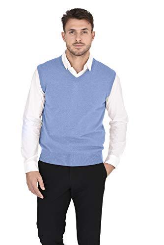 Cashmeren Men's Classic Knit Sleeveless Sweater Vest 100% Pure Cashmere V-Neck Pullover Gilet (Baby Blue, X-Large)