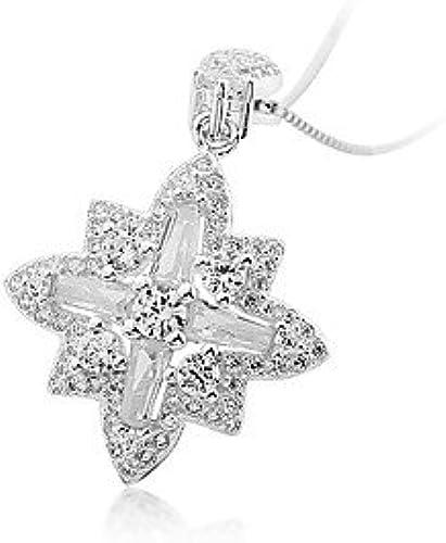 MGS-Halsketten Schmuck @ Damen Anh erketten Kubikzirkonia Schneeflocke Sterling Silber Zirkon Freundschaft Sexy Schmuck Für Geburtstag Verlobung , 48cm