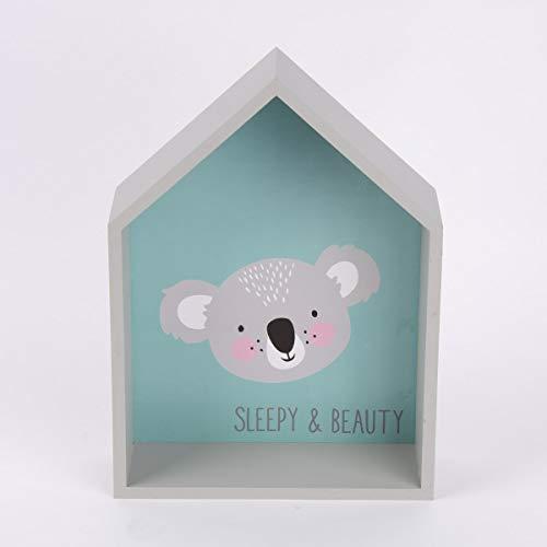 Mooi leven. Decoratief wandrek Koala Sleepy & Beauty MDF grijs blauw 20x27cm