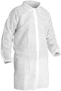 Disposable Lab Coats with Elastic Wrists, White (Case of 30) (Medium)