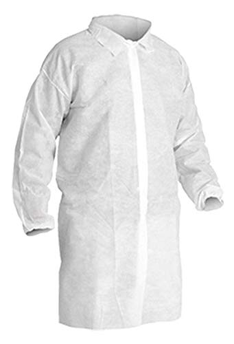CleanPro Disposable Polypropylene Snap Closure Lab Coats with Elastic Wrists, White (Case of 30) (2X Large)