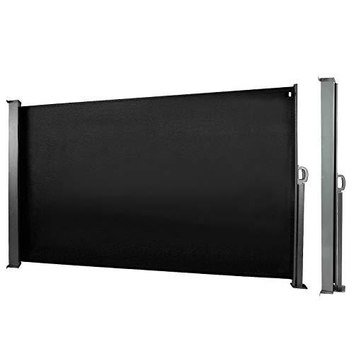 CCLIFE Seitenmarkise Ausziehbar Sichtschutz Windschutz Sonnenschutz TÜV mit Alu-Rolle, Farbe:Schwarz, Größe:180x300cm