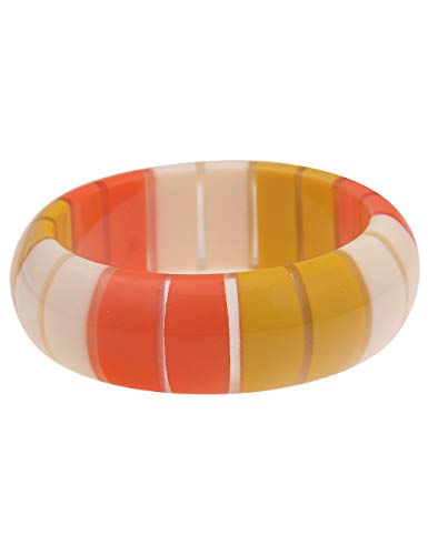 Leslii Damen-Armband XXL-Armreif Retro Statement-Armband breiter Armreif buntes Modeschmuck-Armband in Orange Gelb Weiß