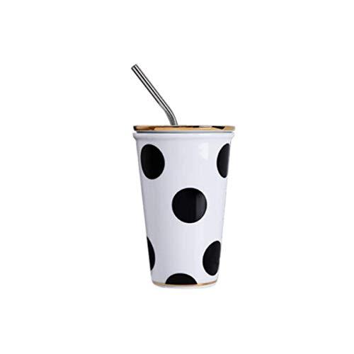 ZJN-JN Cup con la Taza de Paja, Taza de cerámica, Taza, Taza de café Creativa de la Paja de Acero Inoxidable con Tapa, Taza de Leche, Blanco de la Taza, Inicio Presente