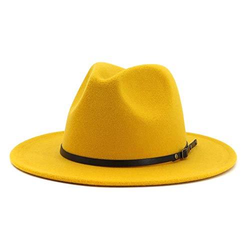 HUDANHUWEI Women's Classic Wide Brim Fedora Hat with Belt Buckle Felt Panama Hat Yellow