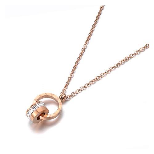 HYL0 Liebe Zwei Kreis Doppelschnalle Römische Ziffer Anhänger Halskette Weibliche Edelstahl ZZBiao (Color : Rose Gold Color)
