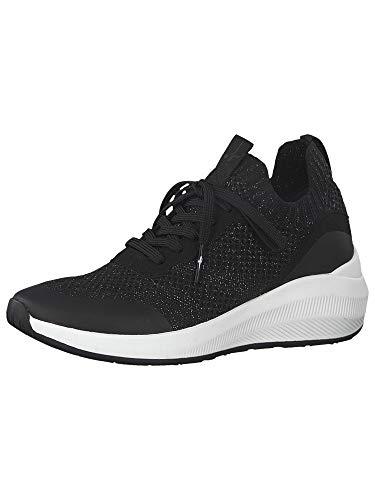 Tamaris Mujer Zapatos con Cordones, señora Zapatos Deportivos,Zapatos Bajos,Calzado de Calle,Zapatillas de cuña,Black Silver,38 EU / 5 UK