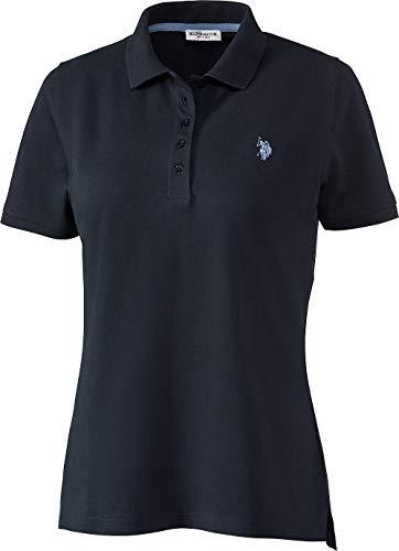 U.S. POLO ASSN. Damen Poloshirt in Marine, aus Stretch Piqué Stoff, mit Knopfleiste, Elegantes Kurzarm Damen Hemd, Taillierter Schnitt, Damenoberbekleidung, Gr. S - XL