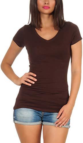 Jela London Damen Longshirt T-Shirt lang Stretch V-Ausschnitt Kurzarm einfarbig sexy eng-anliegend, Dunkelbraun 34-36 (M)