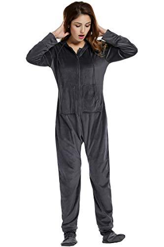 Unibelle Schlafoverall Jumpsuit Damen Overall Pyjama Onesie Einteiler Lang Strampler Kuschelig Schlafanzug Nachtwäsche Langarmshirt Playsuit mit Reißverschluss Grau XXL