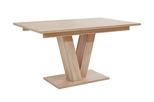 HOMEXPERTS Esszimmertisch mit Auszug DAVID / Ess-Tisch in Eichen-Holz Optik hell-braun / Säulentisch 140cm / Synchron-Auszug ausziehbar auf 180 cm / Auszugstisch / 140-180 x 90 x 75cm (LxBxH)