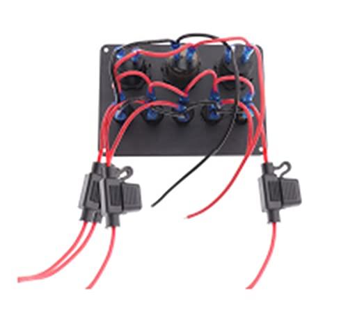 JIAQING 8 / 5GANG Panel de Interruptor eléctrico 12V / 24V RV Ajuste para Barco de Barco Marino con Doble Cigarrillo de Cigarrillo Encendedor de Cigarrillos Impermeable Impermeable voltímetro