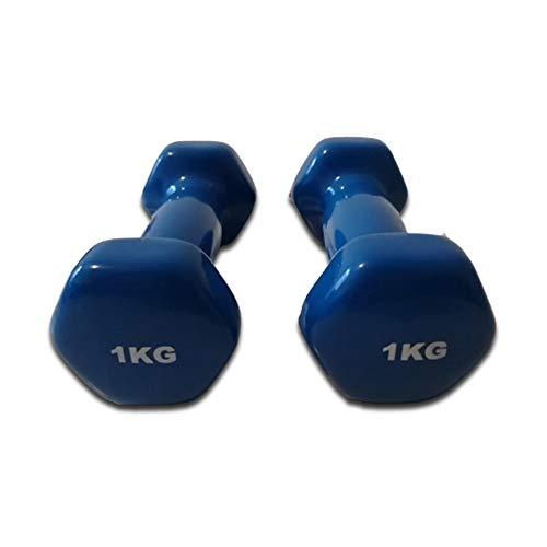 Natural Logistics. Mancuernas de Vinilo. Par de Pesas de 1 kg. Musculación. Fitness. Gimnasio en casa. Kottao (1kg, Azul)