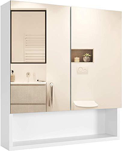 Homfa Armario Baño con Espejo Armario de Pared Armario Cocina Colgante con 2 Puertas 3 Compartimentos Blanco 53x13x58cm