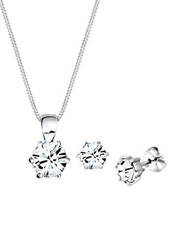 Elli Schmuckset Elli Damen Schmuckset Halskette mit Ohrringen Basic mit Swarovski Kristallen in 925 Sterling Silber 45 cm lang