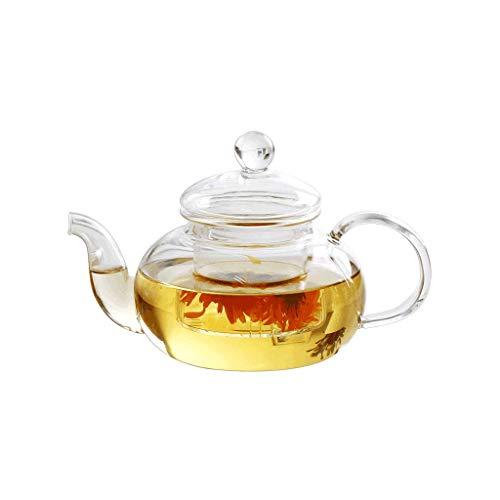 Theepot set, transparant, bestand tegen hoge temperaturen, 600 ml, hoog borosilicaat, infuser voor losse thee