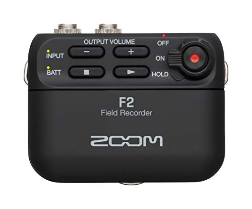 Zoom F2 Lavalier Body-Pack Compact Recorder, 32-Bit Float Recording, No Clipping, Audio for Video, Records to SD, and Battery Powered with Included Lavalier Microphone