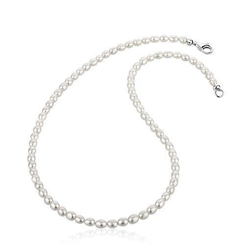 Nenalina Damen Perlenkette Halskette Collier aus Süßwasserperlen und Karabiner Verschluss aus 925er Sterling Silber, Länge 42-80 cm, 724007 (60)