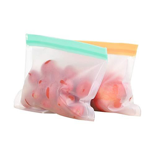 Bolsa reutilizable de almacenamiento de alimentos de silicona, silicona a prueba de fugas Ziplock bolsa de alimentos, para Sandwich B / C / alimento de la fruta fresca de cremallera superior,Naranja