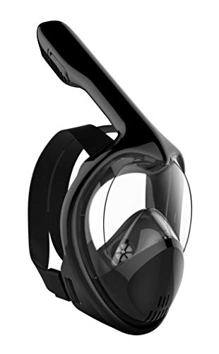 Poppin Kicks Full Face Snorkel Mask for Adult Youth and Kids | 180° Panoramic View Anti-Fog Anti-Leak Easy Breathe GoPro Compatible w/Detachable Camera Mount (Deluxe Black, Small/Medium)