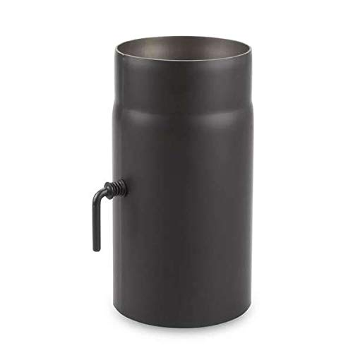 Ø 150 mm - Ofenrohr 25 cm mit Drosselklappe Schwarz